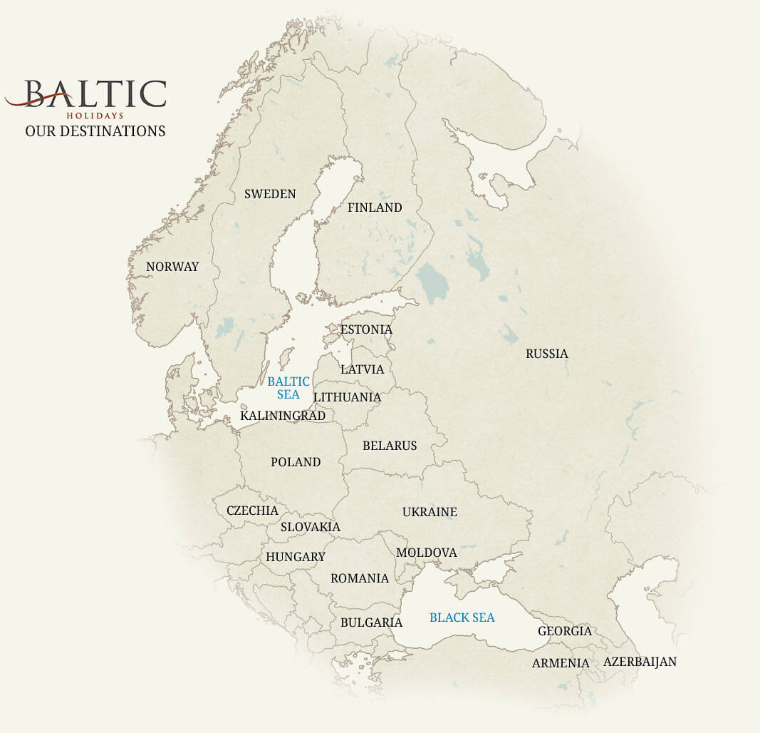 Baltic Holidays Destinations - European Map