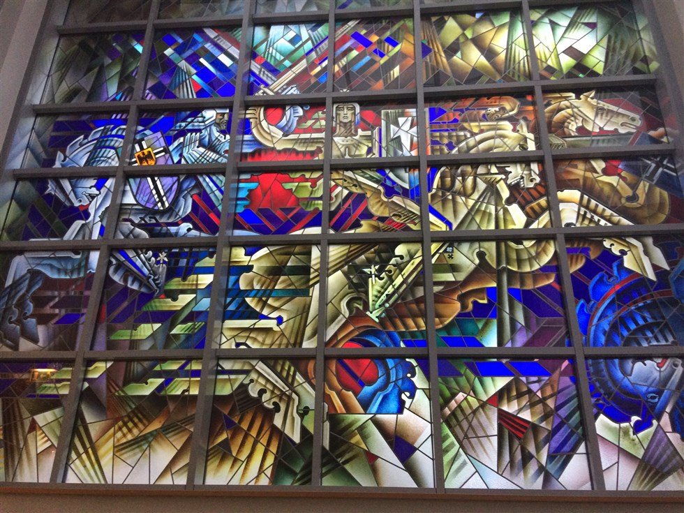 Stained Glass Window depicting The Battle of Grunwald by Professor Kazimieras Morkunas in Lithuanian Parliament