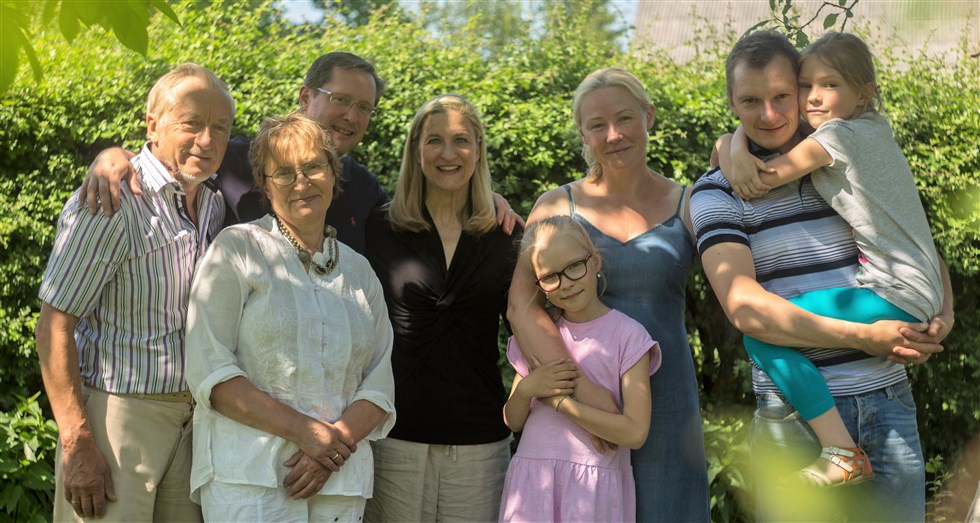 Ruta Sepetys with husband Michael & the Zabaliunas family in Kaunas Lithuania