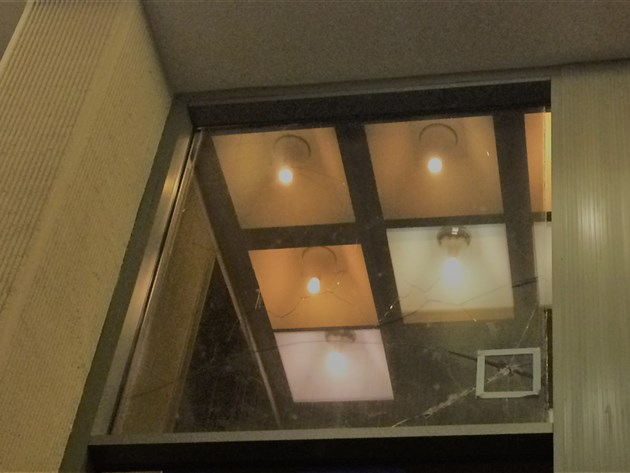 Window smashed by shrapnel during January 1991 clash with Soviet troops in Lithuanian Parliament
