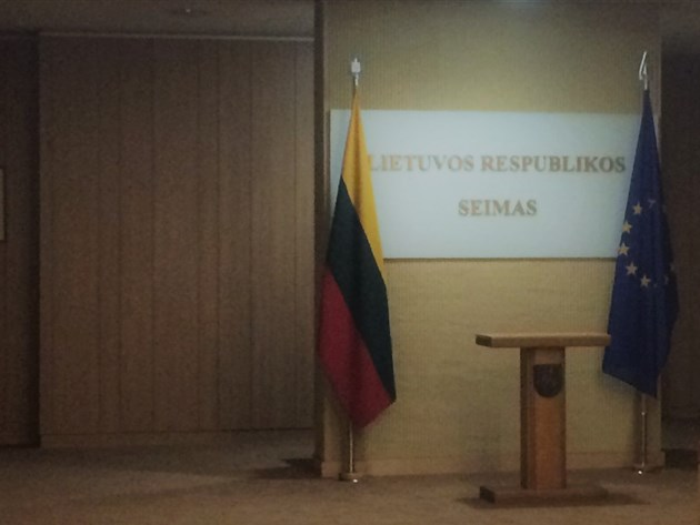 Speakers' podium in Lithuanian Parliament