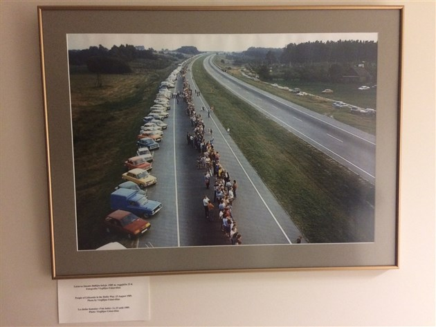 The Baltic Way August 1989 photograph on display in Lithuanian Parliament