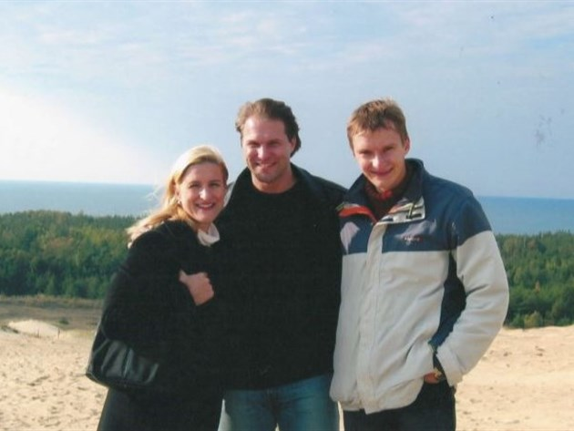 Ruta & John Sepetys with Linas on the sand dunes of Lithuania