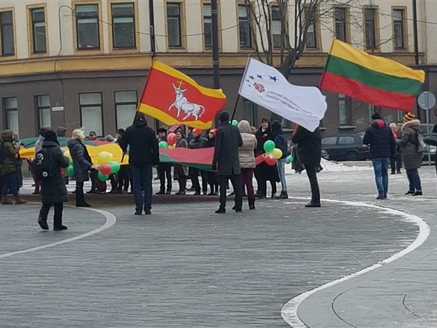 Celebrating Lithuanian independence in Kaunas Lithuania