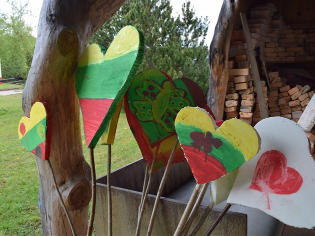 Lithuania flag decorated hearts