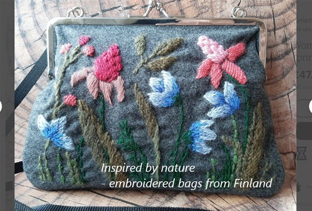 Embroidered floral bag from Finland