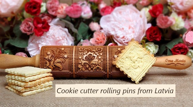 Cookie cutter rolling pins from Latvia