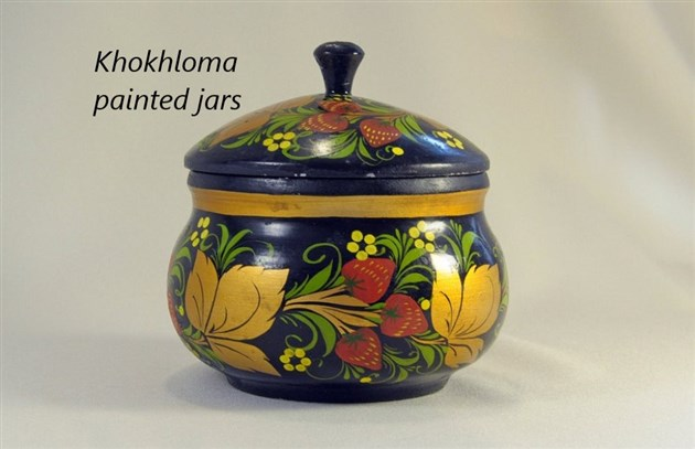 Khokhloma painted jars from Russia