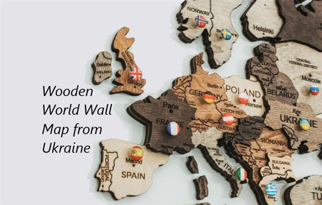 Wooden World Map with coloured pins