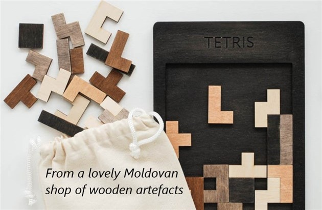 Wooden tetris game from Moldova