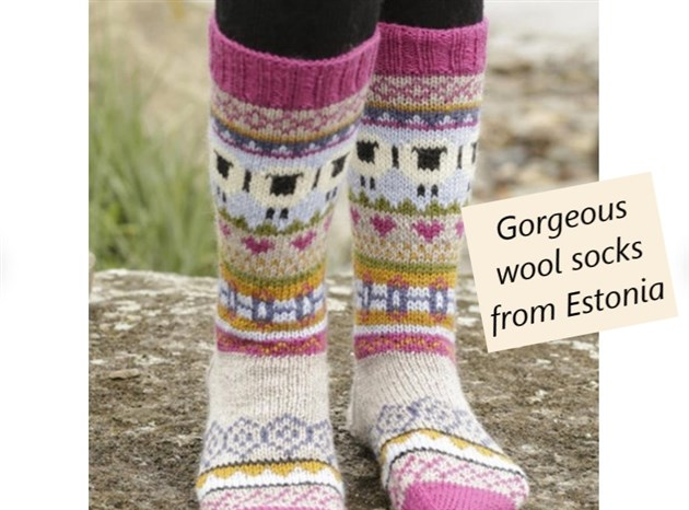 Gorgeous knitted sheep socks from Estonia