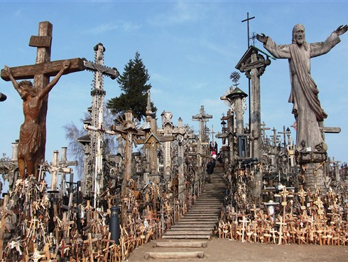 Stop to visit the Hill of Crosses in Lithuania on a Baltic capitals tour