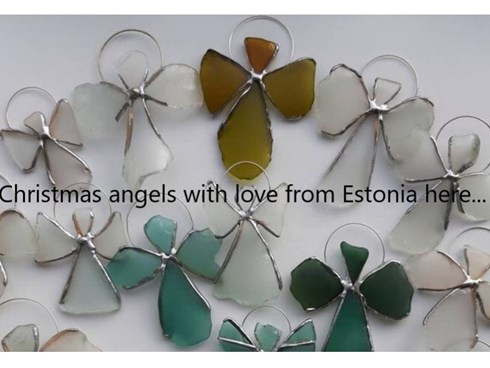 Glass angels recycled from the beach in Estonia