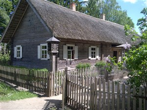 Ethnographic houses at Rumsiskes open air museum Lithuania