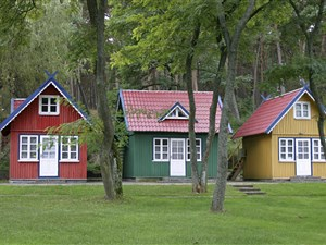 Colourful houses of the Curonian Spit in Lithuania, a UNESCO World Heritage Site