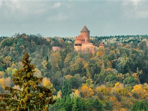 Turaida castle in the Gauja national park in the Latvian forest