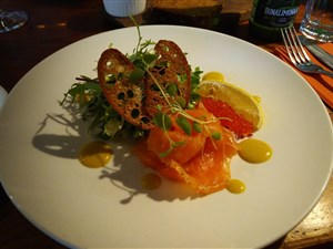Smoked salmon salad at Rataskaevu16 in Tallinn Estonia