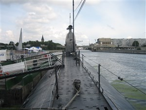 Walking on the top of submarine in Kaliningrad, Russia