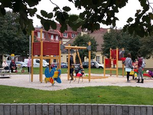 Plenty of green spaces and family-friendly play areas in Vilnius old town