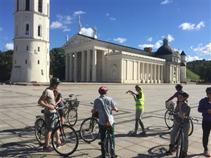 Family cycling tour of Vilnius on an active holiday in Lithuania
