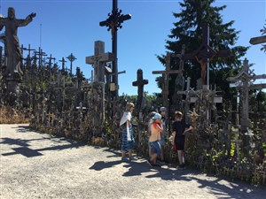 Visiting the Hill of Crosses Lithuania on family holiday