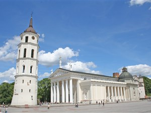 Vilnius cathedral and belltower in summer sun